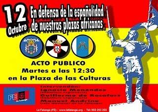 Mañana dia 12, la Falange en Melilla por el dia de la Hispanidad